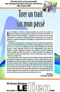 Extraits de la revue mensuelle des Groupes Familiaux Al-Anon The Forum