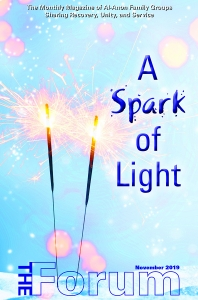A Spark of Light theme for The Forum Magazine with sparklers on the cover