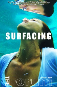 woman surfacing from underwater. Cover image for Forum magazine.