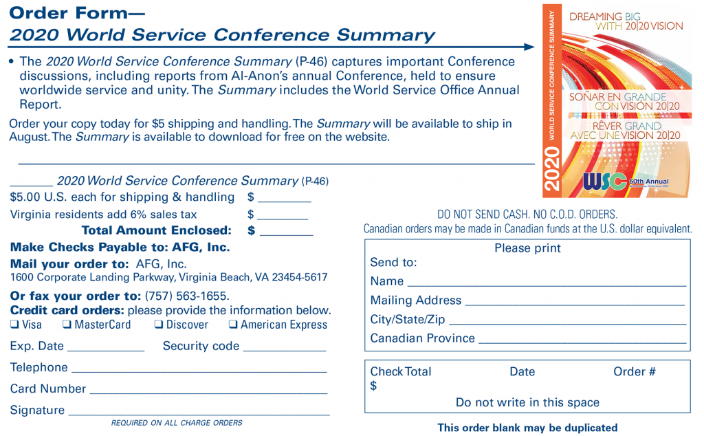 2020 World Service Conference Order Form