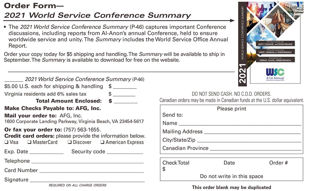 2021 World Service Conference Order Form